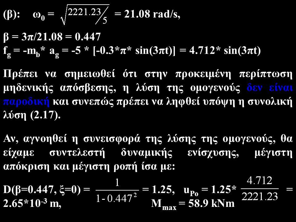 (β): ω0 = = 21.08 rad/s, β = 3π/21.08 = 0.447. fg = -mb* ag = -5 * [-0.3*π* sin(3πt)] = 4.712* sin(3πt)